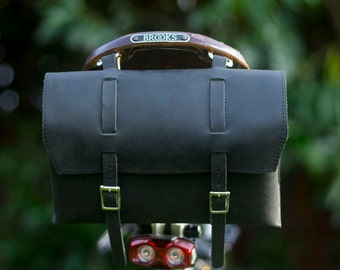 Large Genuine Leather Bicycle Bag Saddle Handlebar OLD FASHIONED in BLACK