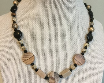 "Vintage Beads -  ""Sandstone""  Upcycled Necklace - Jewelry Made with Vintage/ Recycled Materials"