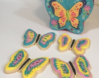 Gourmet Butterfly Sugar Cookies w/ Royal Icing Box, Fresh, Custom Made, Hand Decorated, Home Baked - Spring, Gift, Favor