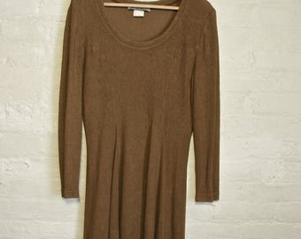 Taupe Long Sleeve Skater Dress Large Stretch