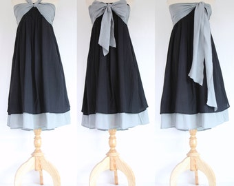 Black Bridesmaid Dress / Black Strapless Dress / Prom Dress / Black Cotton Dress / Black Sundress / Black Summer Dress - SD007