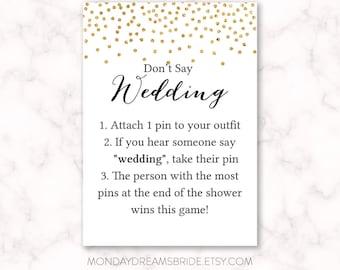 Printable Don't Say Wedding Bridal Shower Game Gold Glitter Confetti, Gold Confetti Gold Glitter Bridal Shower Game, Wedding BRS1A GM026