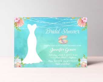 Beach Bridal Shower Invitation Printable, Instant Download, Under the Sea Bridal Shower Invitation, Shell Summer, Nautical Invitation