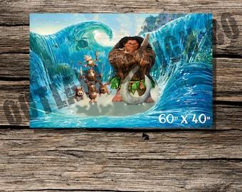 Maui Kakamora Disney Moana Vaiana Birthday Party Backdrop Banner Poster Instant Download Printable Party Decor Boy Girl 60 x 40