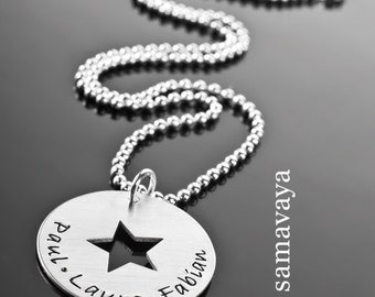 Personalized MY STARS 925 Silver chain necklace with engraving name necklace star
