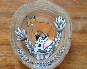 fox on a skull original acrylic painting illustration art original artwork gift idea fox drawing island