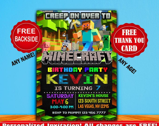 Mine themed invitation Minecraft invitation Birthday invitation Boy invitation baby invitation printable invitation minecraft invite