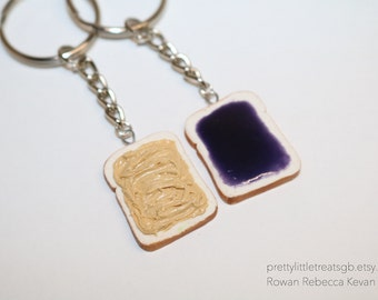 Peanut butter jelly keychains grape, Best friend keychains, Polymer clay food, Keychains, Cute keychains, Friendship keychains