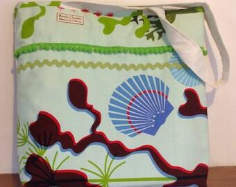 Tote bag, Pretty summer bag fishy theme, with bobble trim