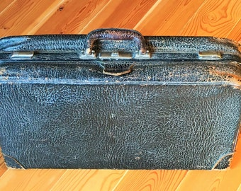 Antique Black Leather Suitcase, 1930s Black Luggage.