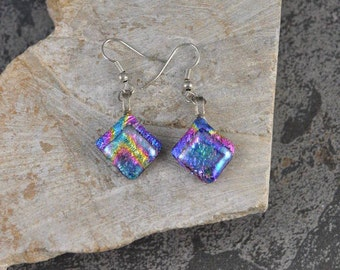 Dichroic Fused Glass Earrings in Shimmering Rainbow Pinks and Purple  with Sterling Silver Ear Wire