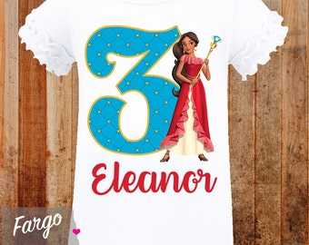 Girl's Personalized Birthday Shirt // Elena Birthday T-shirt // 3rd 4th 5th 6th 7th 8th Birthday// Elena of Avalor Movie Birthday