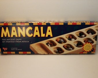 Mancala Game by University Games 1995 The Ancient Game of Strategy From Africa Wooden Board Rare Collectable