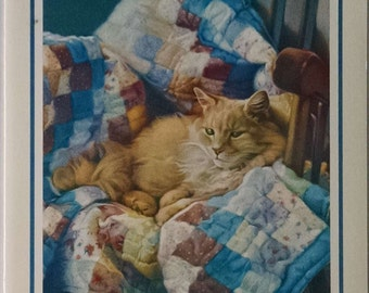 "Renaissance Greeting Cards Inc Melinda Harleman Get Well Cat Themed Greeting Card ""Jake"" - Sleeping Cat"