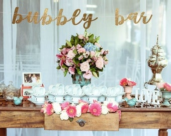 Bubbly bar banner, mimosa bar banner, champagne banner, birthday banner, wedding reception banner, open bar banner, open bar signs
