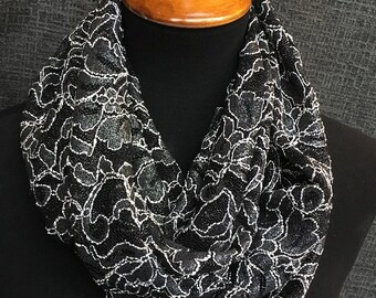 Black Infinity Scarf, Lace Scarf, Fancy Scarf, Circle Scarf, Fashion Scarf, Infinity Scarf, Dressy, Unique Scarf, Mother's Day Gift, Cowl
