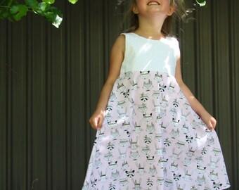 Girls Dress, Girls size 5-6, Pink dress, Animal dress, light colour dress, summer clothing, kids clothes, girls fashion, tribal dress, cute