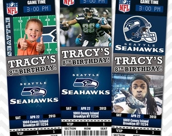 Seattle Seahawks Invitation, Seahawks Football Invitation, Seahawks Invite, Seattle Save the Date Card, Birthday VIP Pass, Ticket Invitation