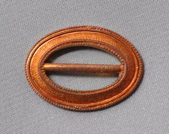 Vintage Small French Buckle For Enameling Gold Toned Raw Brass 1 Piece 416J