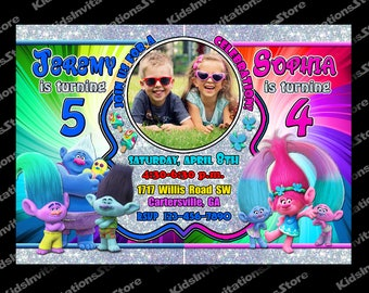 Trolls Sibling Invitation-Sibling Invite-Twins Invitation-Double Invitation-Trolls Invitation-Trolls Party-Trolls-Trolls Birthday Invitation