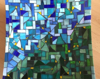 Mosaic scale Spectrum glass blue-green