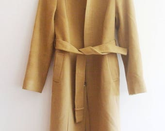 Pinky & Dianne Extremely Rare Made in Japan Camel Brown Angora and Wool Full Length Coat with Belt, sz. 38