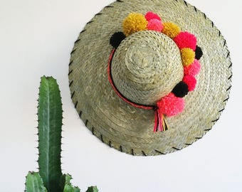 Straw Hat with PomPoms wall decor