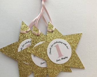 Pink and Gold first Birthday,Favor Tags,Twinkle Twinkle Little Star First Birthday , Decorations,First Birthday Girl