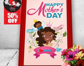 Happy mother's Day-Gift to Mom-Mom-People-Angel-Floral-Baby-Birds-Prince-Queen-Wall art-Illustration-Vector-Digital-Clipart-black family-