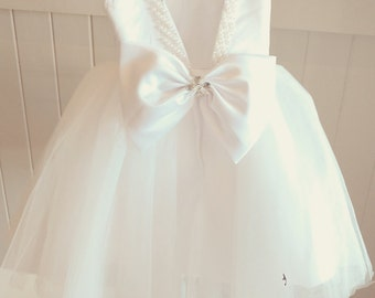 Lace Flowergirl dress Tulle special occasion wear fully customisable to suit your colour theme