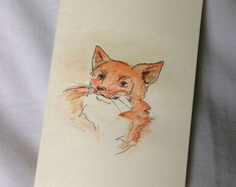 Hand-drawn Watercolour Fox card (6x4)
