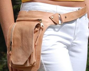 Leather Belt Bag, Hip Bag, Waist Bag, Utility Belt, Festival Bag Festival Belt Bag Burning Man Hippie psy trance Leather Fanny pack, Bum Bag