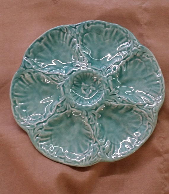 Teal Turquoise Aqua Majolica Oyster Plate Gien made in France Vintage 1950s