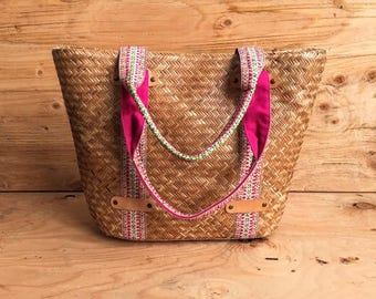 Oversized Straw Beach Bag Tote // Embroidered Strap Straw Bag // Hand Woven Straw Tote