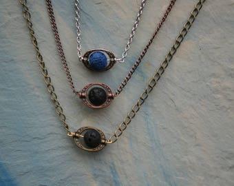 Essential Oil Diffuser Necklace, Lava Stone Necklace, Lava Bead Necklace, Aromatherapy Necklace, Antique Copper, Antique Gold, Silver