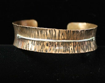 Copper and Silver Cuff Bracelet // Hammered Copper // Riveted Silver Strip // Anti Clastic shaping // Inverted doming