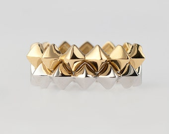 Rhomboid Ring 18K Gold/18K Gold Stackable Ring/ Fine Jewelry