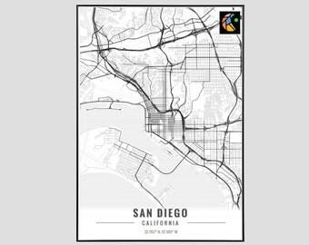 San Diego Map Art Print, Poster Map of San Diego Decor, San Diego City Map Art, San Diego Gift, San Diego California Art Poster
