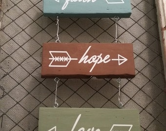 Faith Hope Love Hanging Plaque