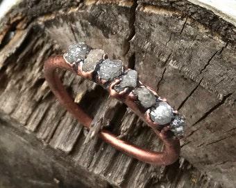 Raw diamond ring / Alternative engagement ring / Rough diamond ring / Diamond wedding band / Alternative promise ring / Copper ring