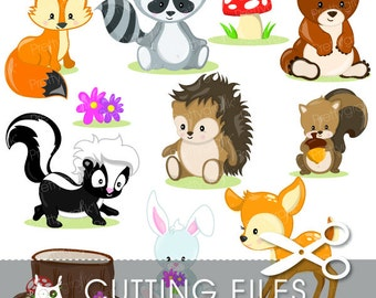 Woodland animals cutting files, svg, dxf, pdf, eps included - fox cutting files for cricut and cameo - Cutting Files SVG - CT807