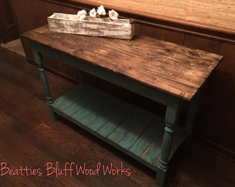 Distressed Turquoise  Sofa Table | Entryway Table | Foyer Table with Stained Tabletop