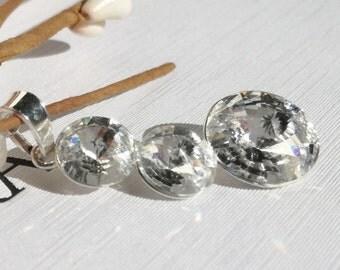 Swarovski Crystal Pednant Clear Crystal Pendant Swarovski Wedding Pendant Crystal Necklace Swarovski Rivoli Necklace Round necklace