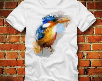 BOARDRIPPAZ Kingfisher T SHIRT Abstract Water Colors Beautiful Colorful Bird Shirt Animal Bird T Shirt Bird Watching Bird Watcher Owl Beer