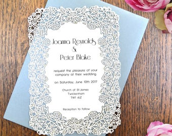Luxury Invitation, Art Deco Invitation, Wedding Invitation, Laser Cut Invitation, Art Deco Wedding, Floral Invitation, Sweet 16 invitation