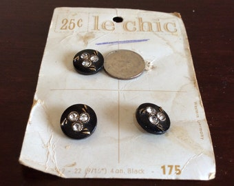 "Vintage Le Chic Buttons~Rhinestones~3 clear inset~Round Black~Gold Accents~Original Card~West Germany~9/16""~Shank~#5512-22~175~jewelry~craft"