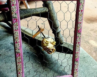 Pink Floral Boho Country Frame Decor
