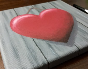 """Hanging Heart Painting - Acrylic on 8""""x8"""" Canvas"""