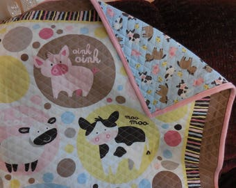 Farm Animal Quilted Baby Blanket
