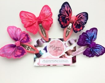 Butterfly Hair Snap Clips, in Pink, Purple, Navy and Blue